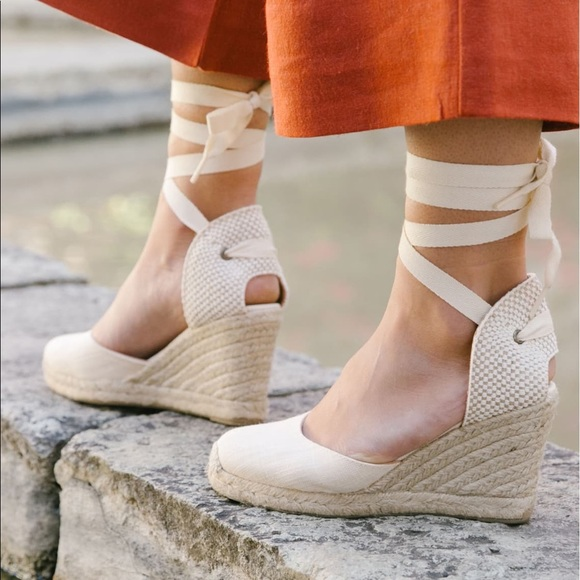 Soludos • Wedge Linen Espadrille Lace Up Shoes by Soludos